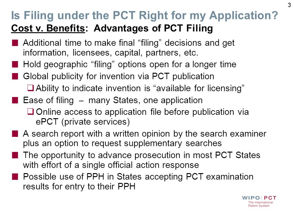 Is Filing under the PCT Right for my Application. Cost v