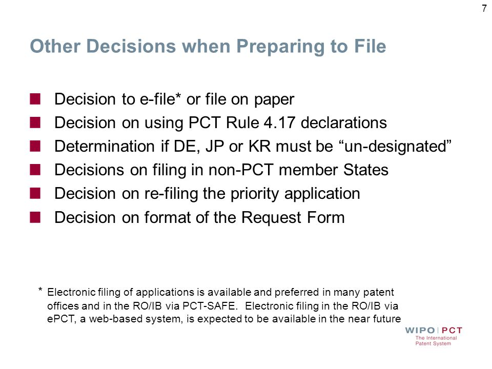 Other Decisions when Preparing to File