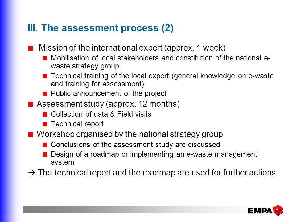 III. The assessment process (2)