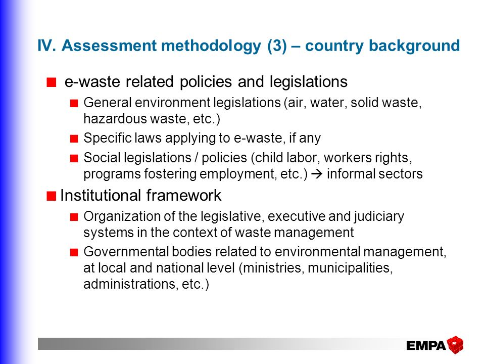 IV. Assessment methodology (3) – country background