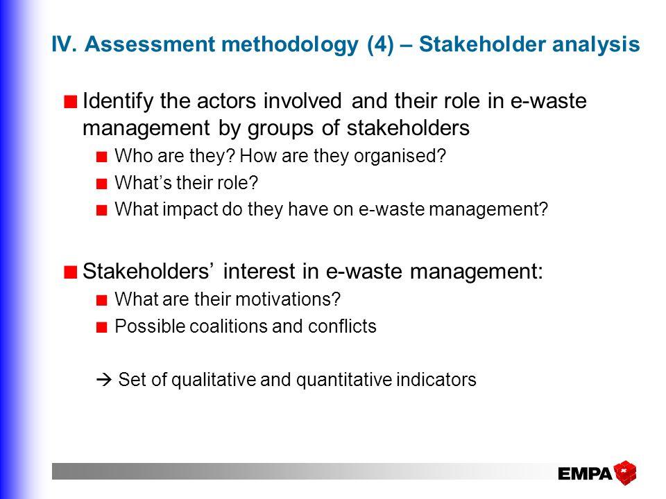 IV. Assessment methodology (4) – Stakeholder analysis