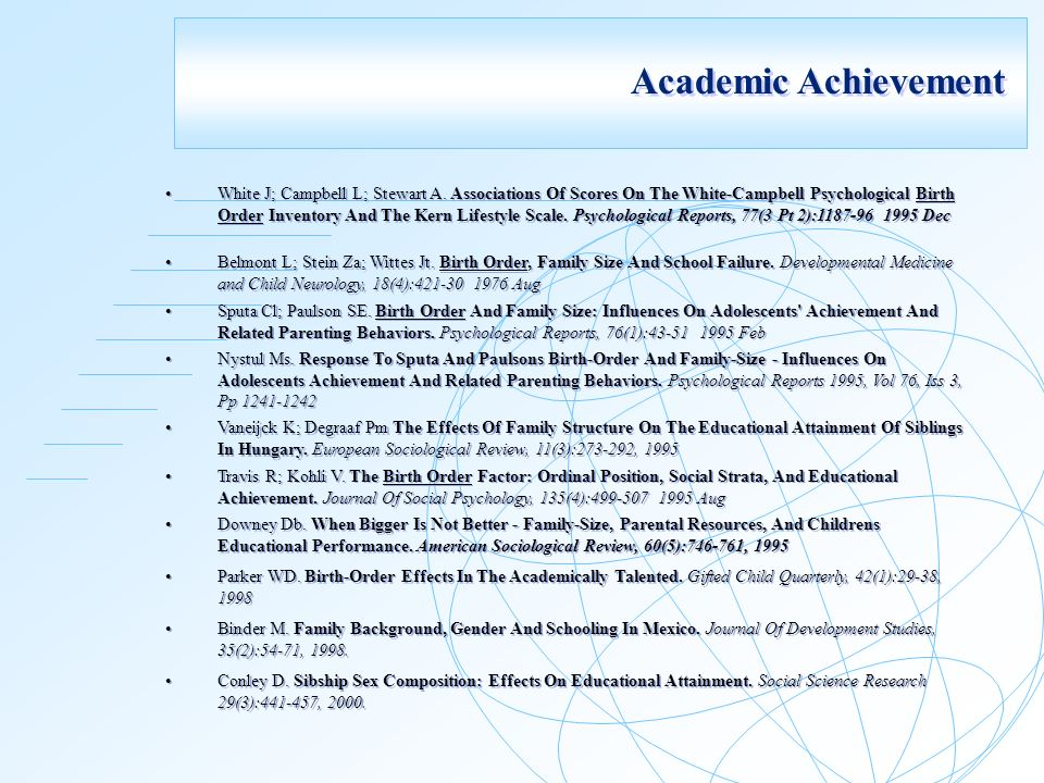 birth order and school achievement A study of relationship between achievement motivation,  from four public and four private schools of  to find out the relationship between achievement.