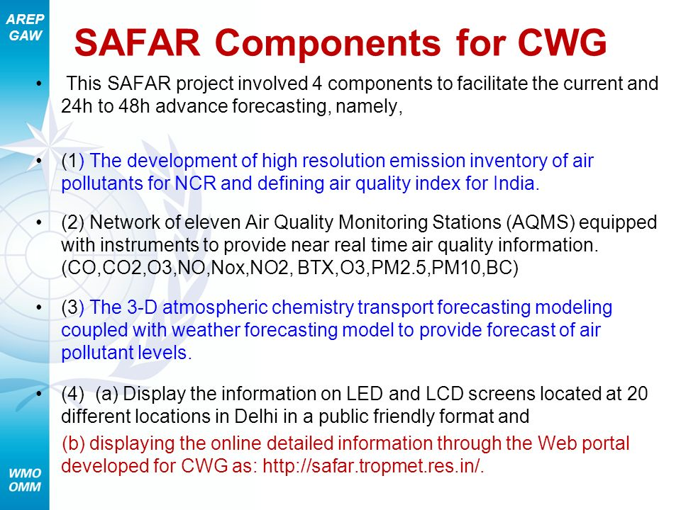 SAFAR Components for CWG
