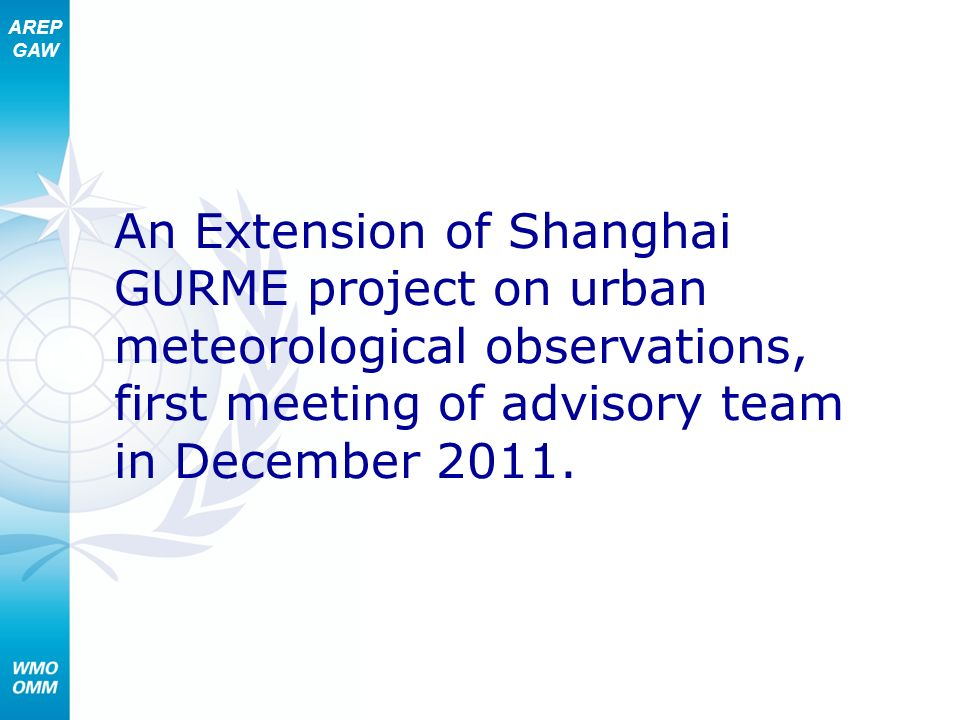 An Extension of Shanghai GURME project on urban meteorological observations, first meeting of advisory team in December 2011.