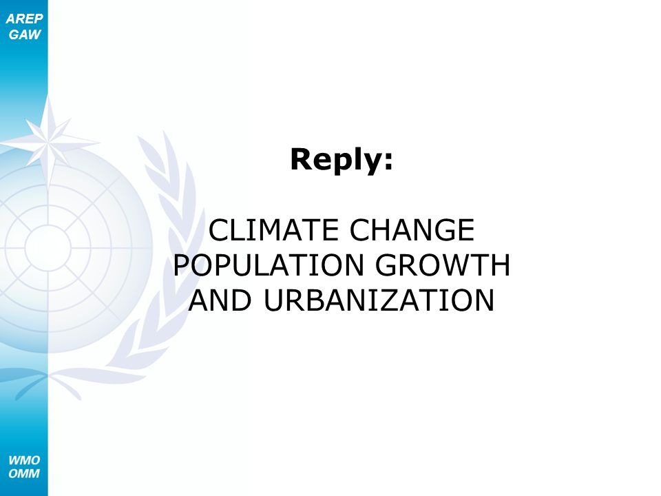 Reply: CLIMATE CHANGE POPULATION GROWTH AND URBANIZATION