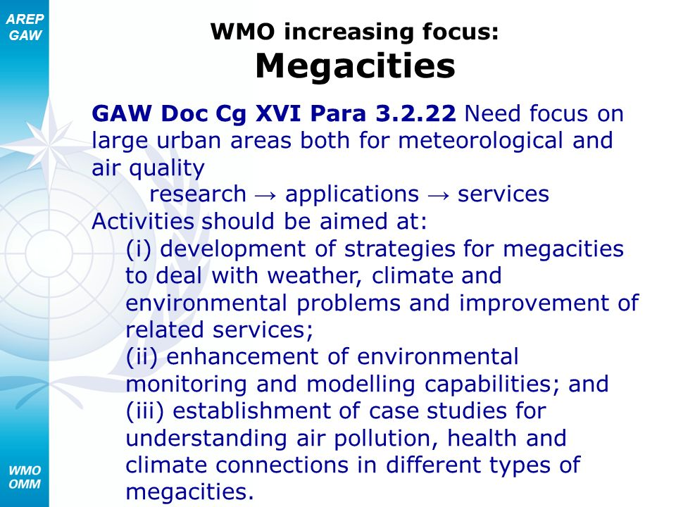 WMO increasing focus: Megacities