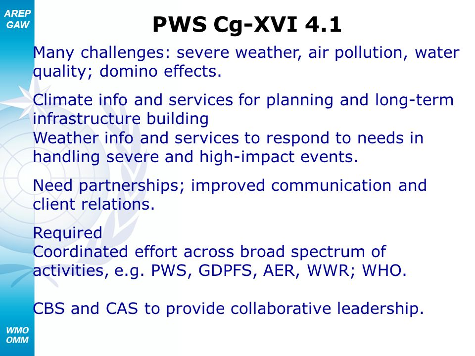 PWS Cg-XVI 4.1 Many challenges: severe weather, air pollution, water quality; domino effects.
