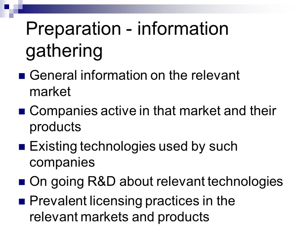 Preparation - information gathering