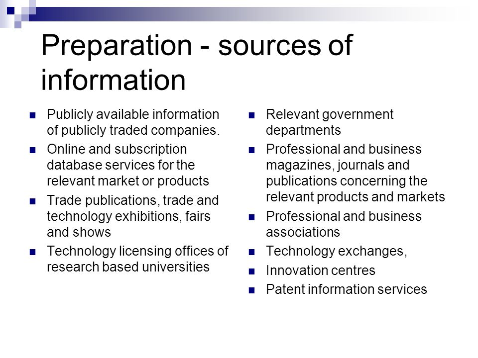 Preparation - sources of information