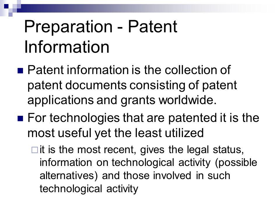 Preparation - Patent Information