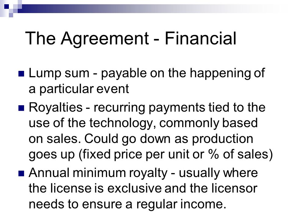 The Agreement - Financial
