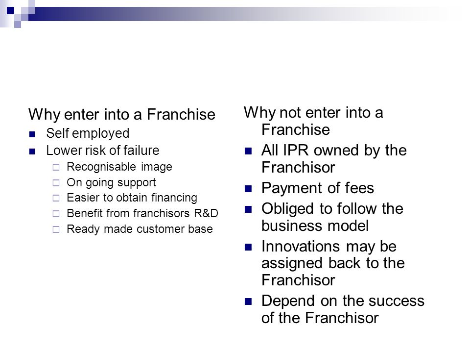 Why enter into a Franchise Why not enter into a Franchise