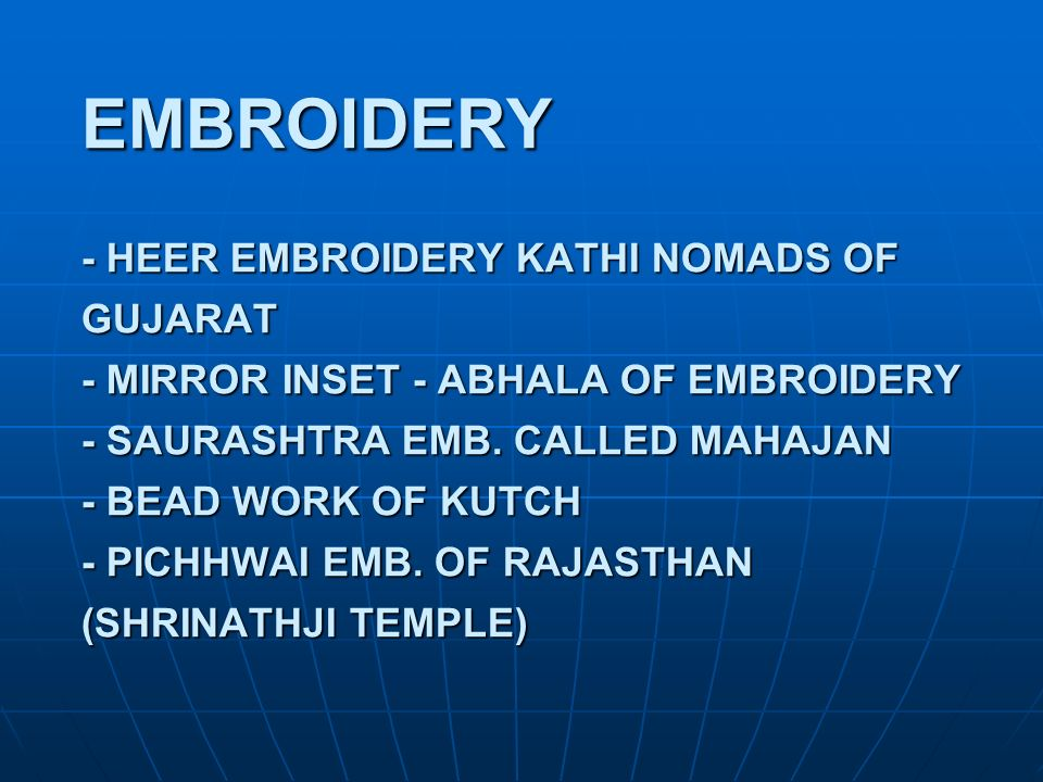 EMBROIDERY - HEER EMBROIDERY KATHI NOMADS OF GUJARAT - MIRROR INSET - ABHALA OF EMBROIDERY - SAURASHTRA EMB.