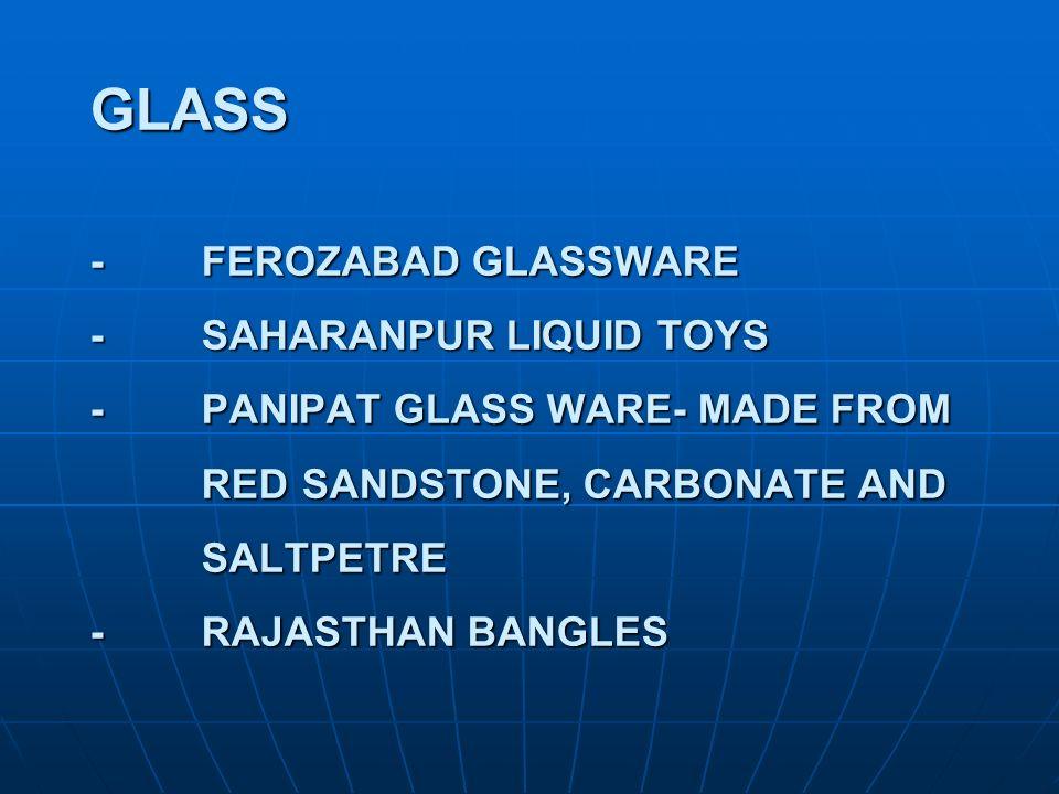 GLASS -. FEROZABAD GLASSWARE -. SAHARANPUR LIQUID TOYS -