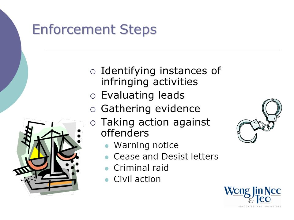 Enforcement Steps Identifying instances of infringing activities