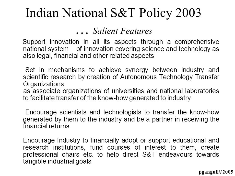 Indian National S&T Policy 2003 … Salient Features
