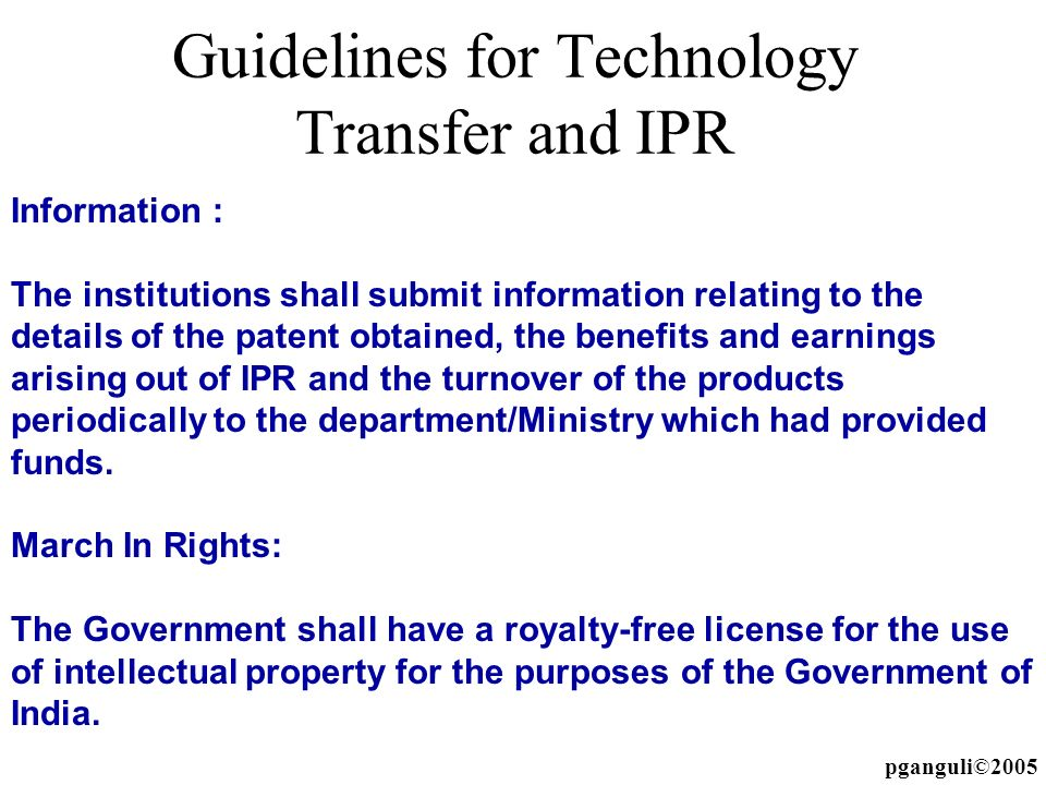 Guidelines for Technology Transfer and IPR