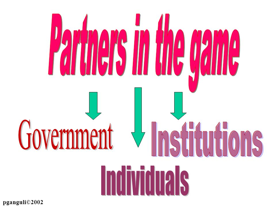 Partners in the game Government Institutions Individuals pganguli©2002