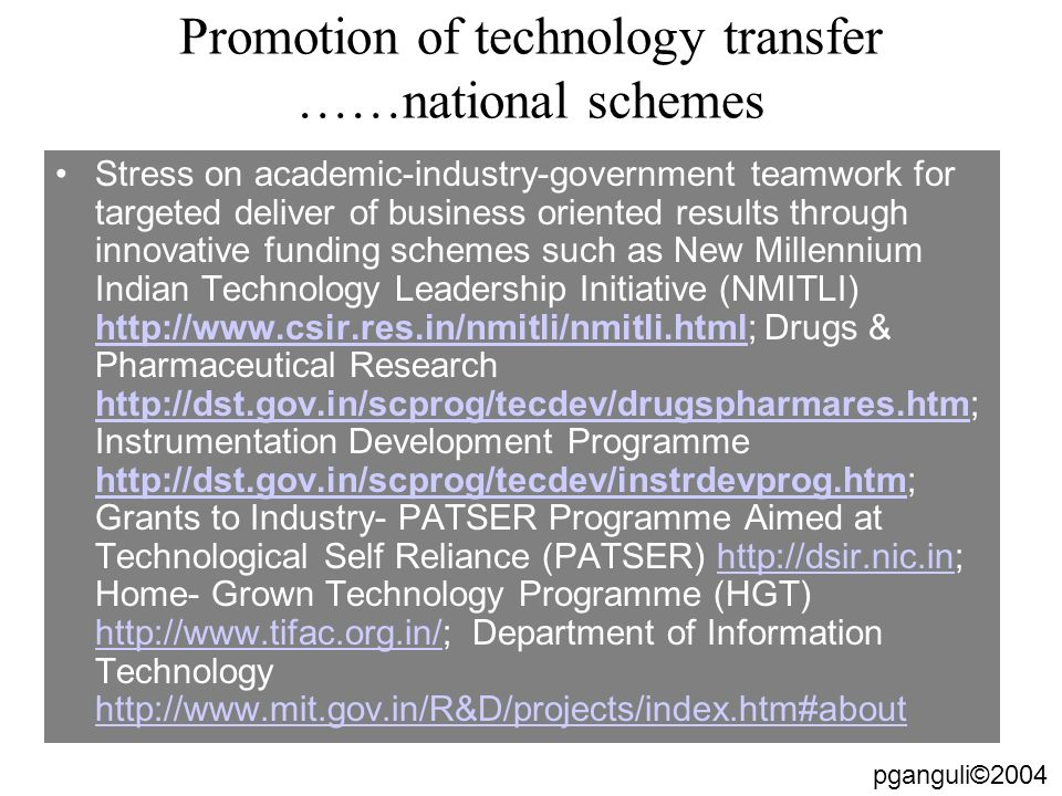 Promotion of technology transfer ……national schemes