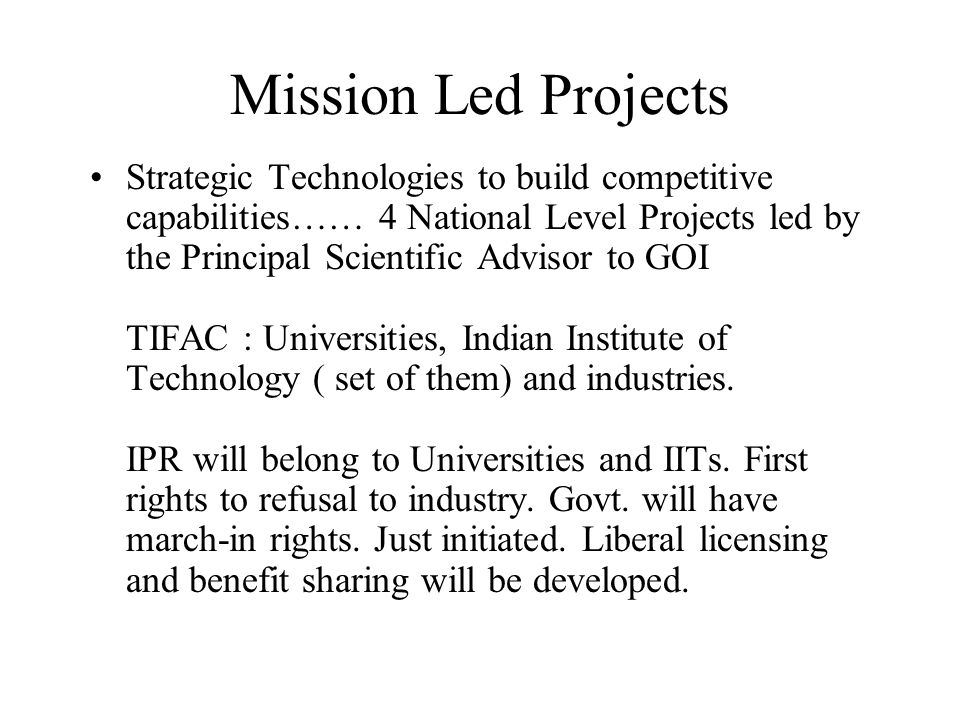 Mission Led Projects