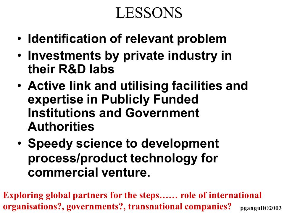 LESSONS Identification of relevant problem