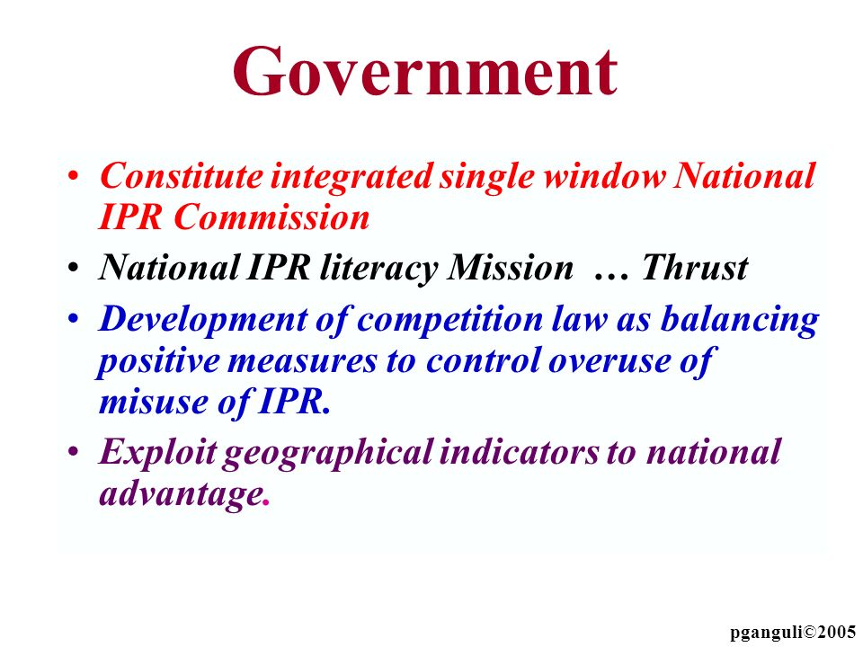 Government Constitute integrated single window National IPR Commission