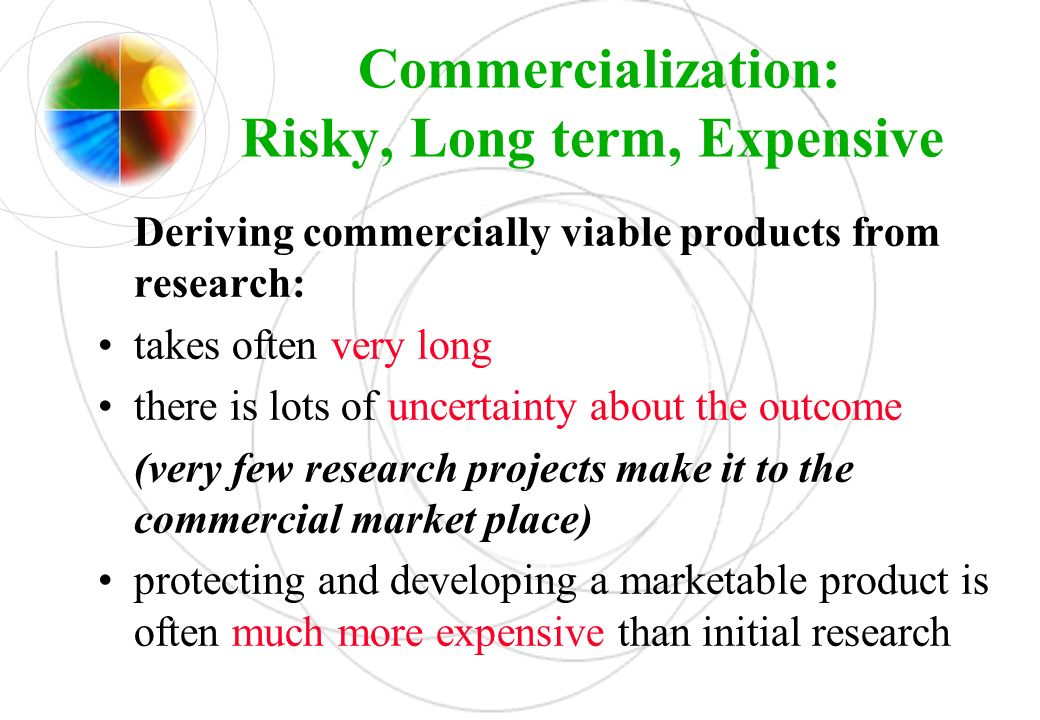 Commercialization: Risky, Long term, Expensive