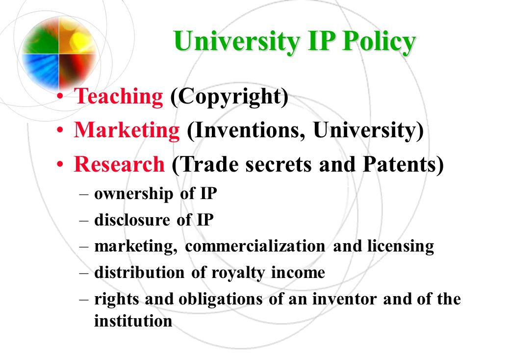 University IP Policy Teaching (Copyright)