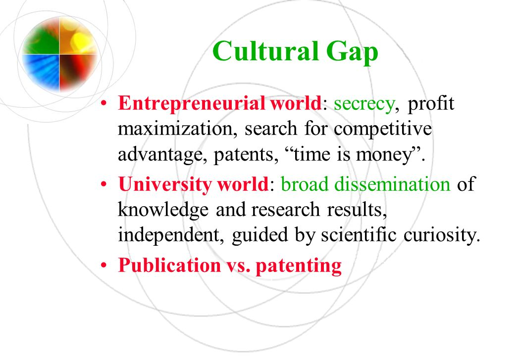 Cultural Gap Entrepreneurial world: secrecy, profit maximization, search for competitive advantage, patents, time is money .