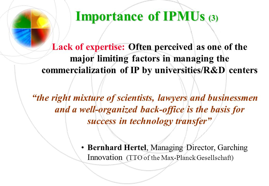 Importance of IPMUs (3)