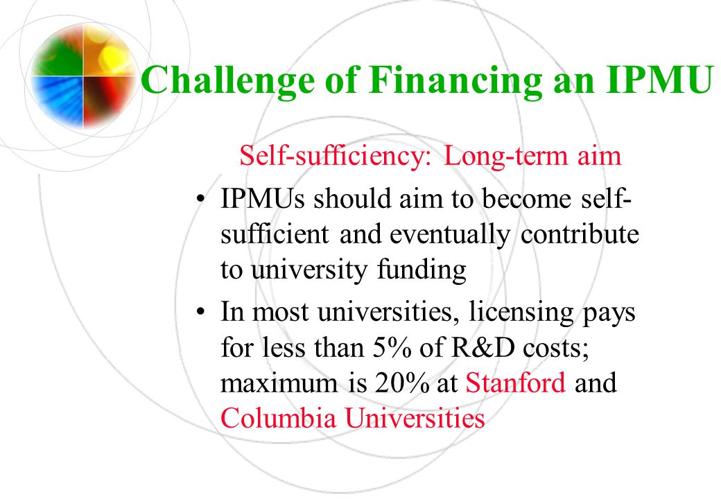 Challenge of Financing an IPMU