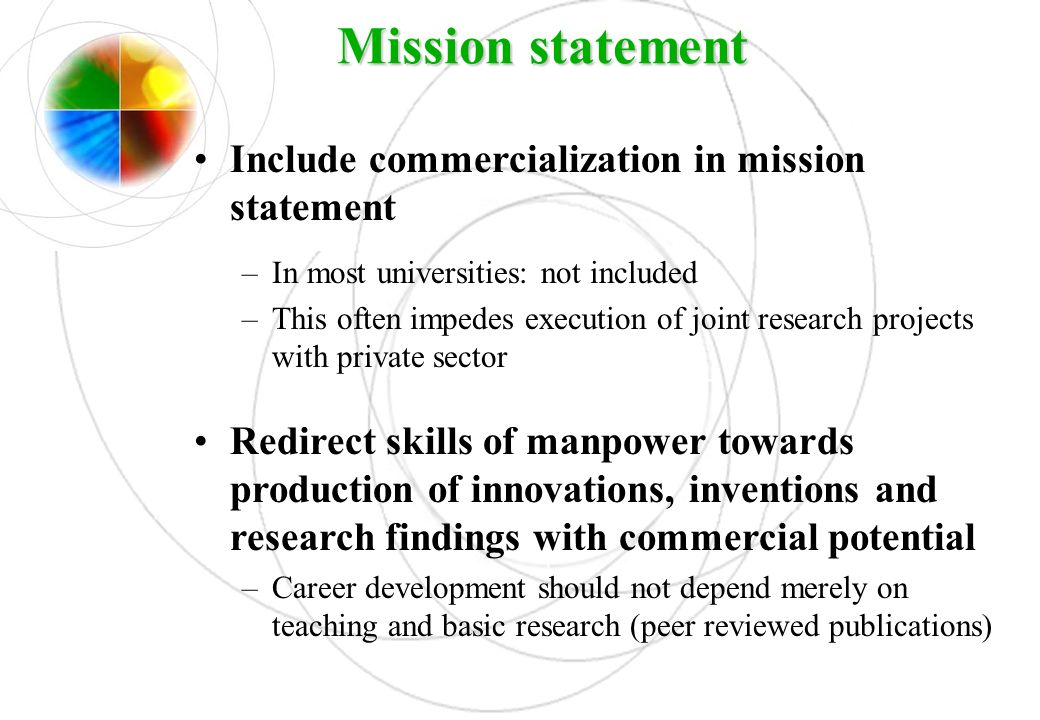 Mission statement Include commercialization in mission statement