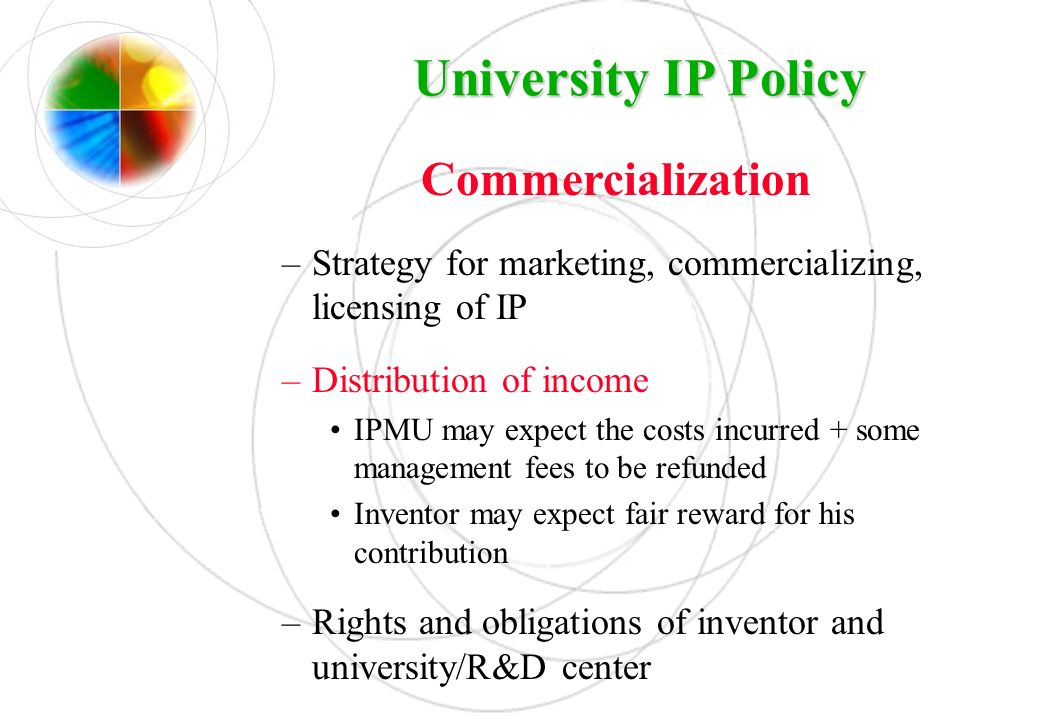 University IP Policy Commercialization