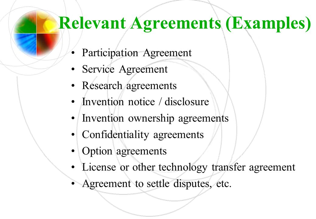Relevant Agreements (Examples)