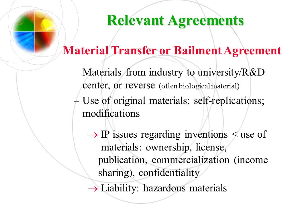 Material Transfer or Bailment Agreement