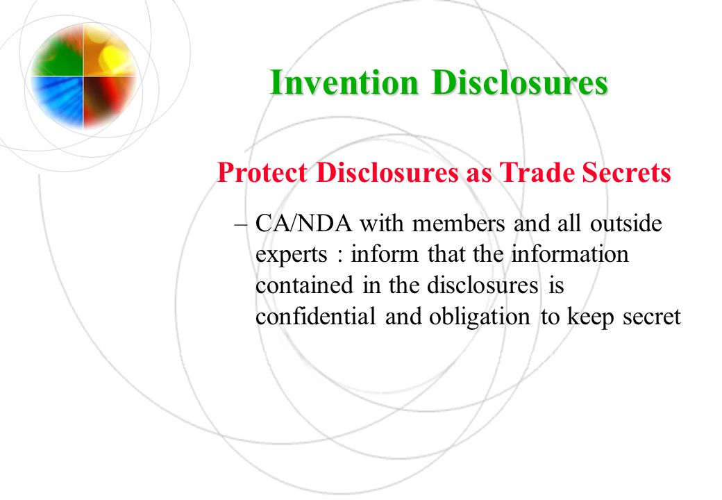 Invention Disclosures Protect Disclosures as Trade Secrets