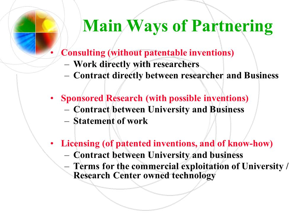 Main Ways of Partnering