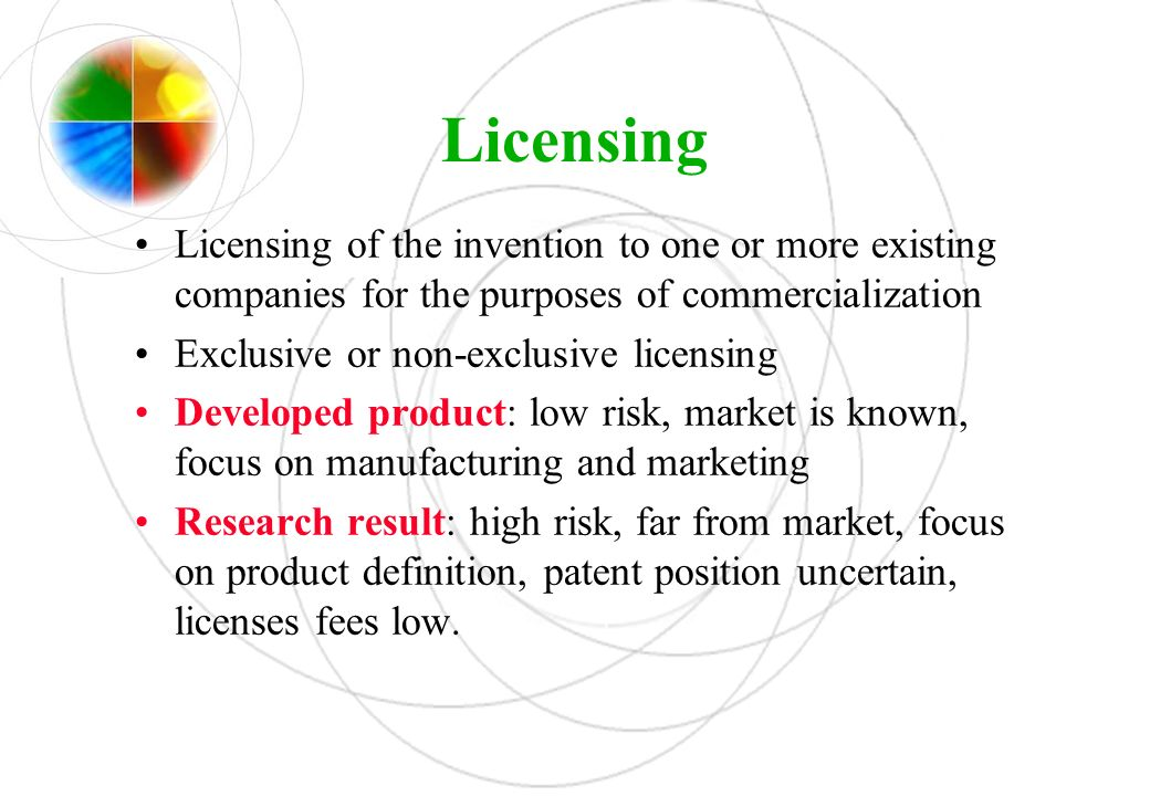 Licensing Licensing of the invention to one or more existing companies for the purposes of commercialization.