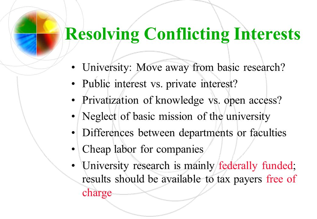 Resolving Conflicting Interests