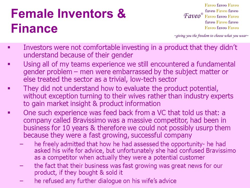 Female Inventors & Finance