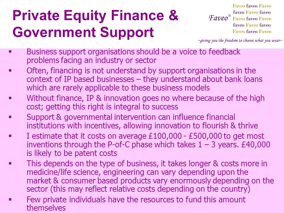 Private Equity Finance & Government Support