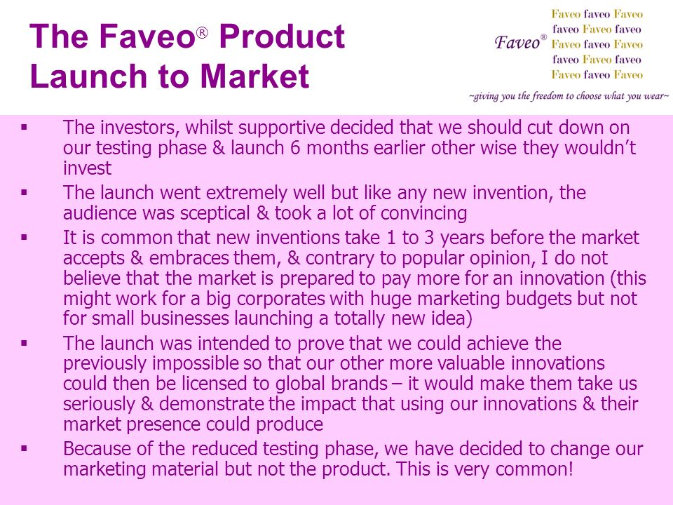 The Faveo® Product Launch to Market