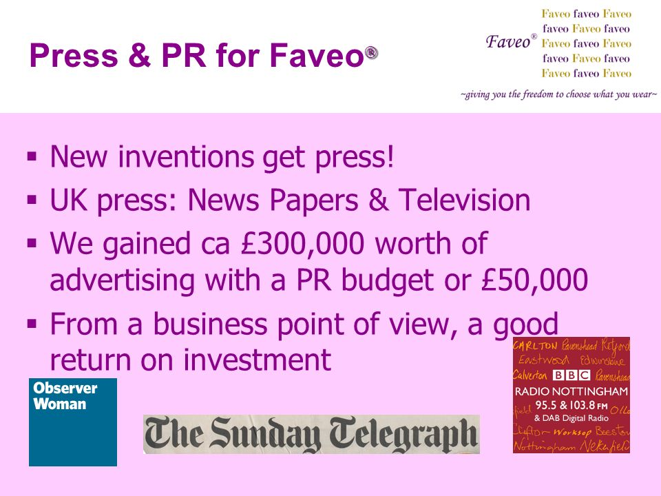 Press & PR for Faveo® New inventions get press!