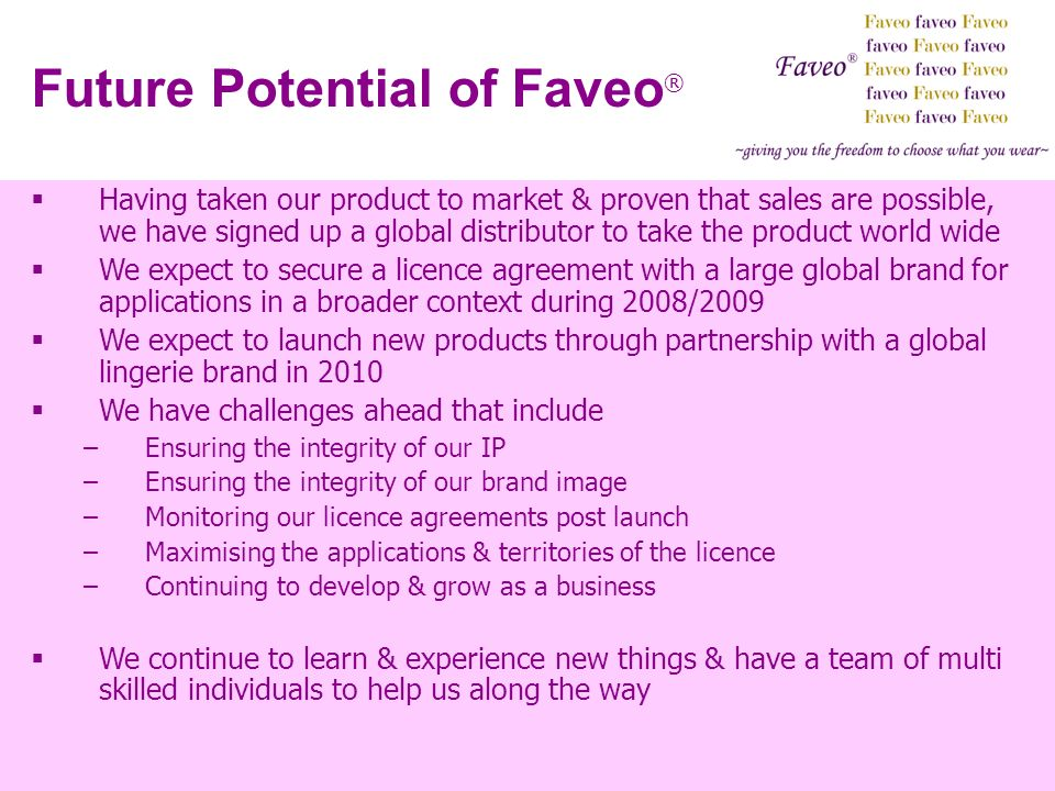 Future Potential of Faveo®