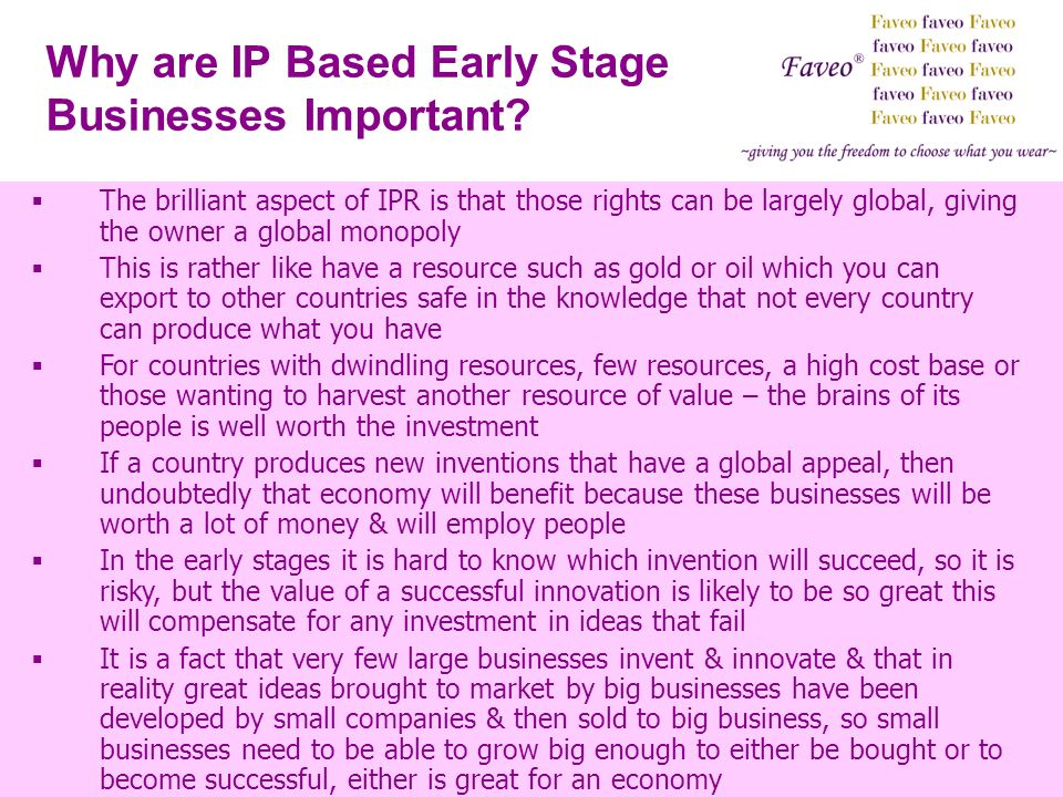 Why are IP Based Early Stage Businesses Important