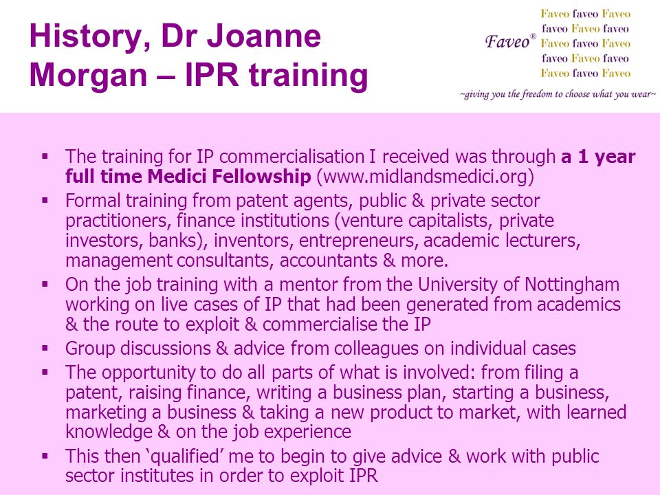 History, Dr Joanne Morgan – IPR training