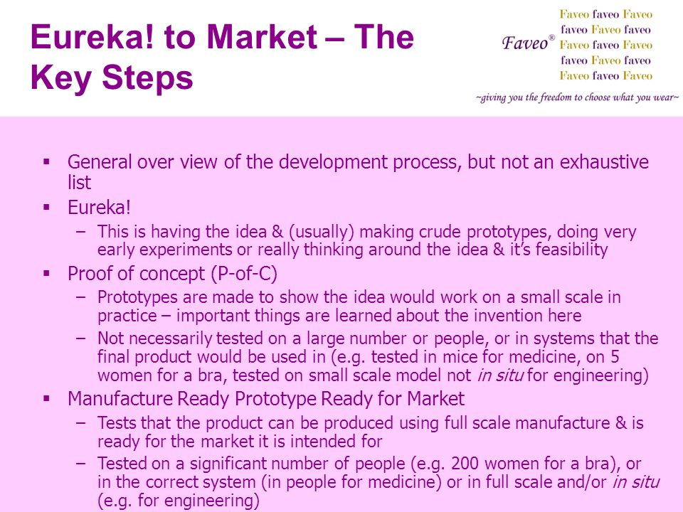Eureka! to Market – The Key Steps