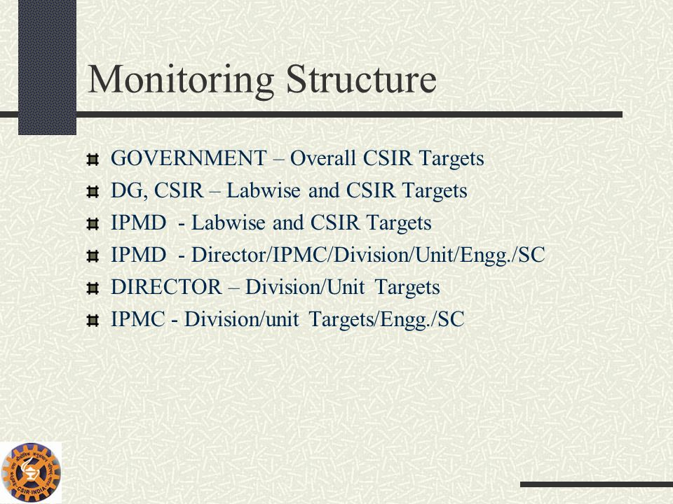 Monitoring Structure GOVERNMENT – Overall CSIR Targets
