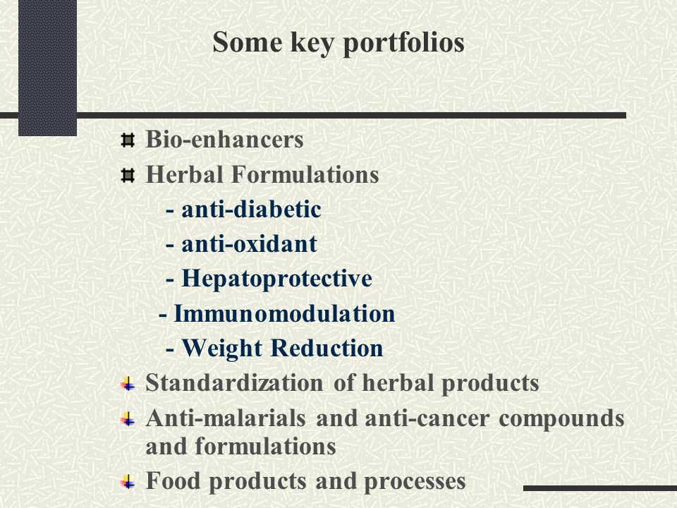 Some key portfolios Bio-enhancers Herbal Formulations - anti-diabetic