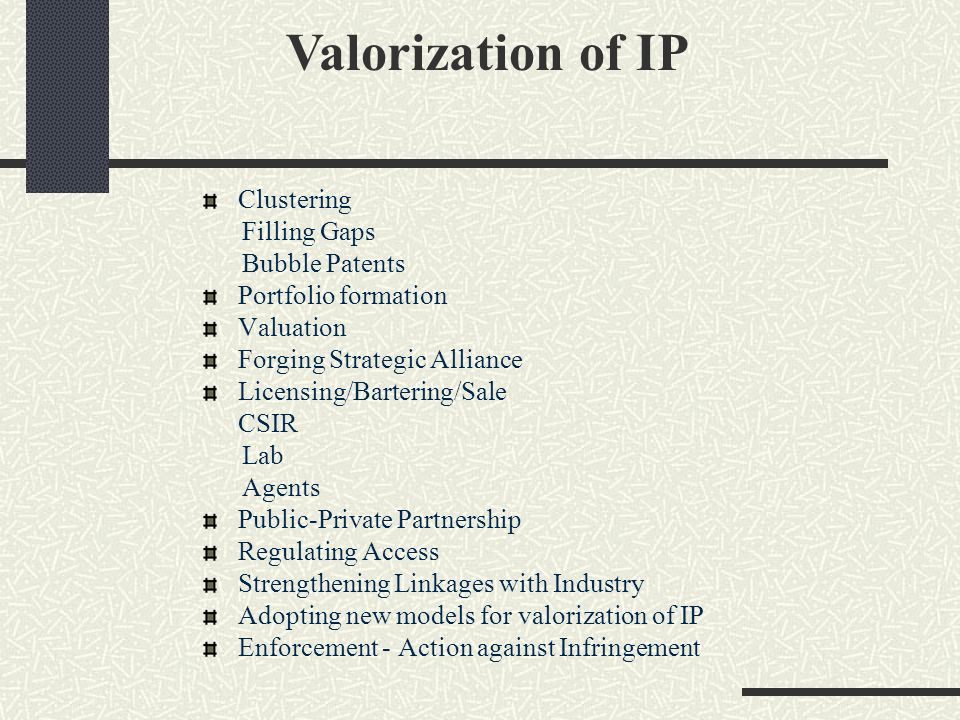 Valorization of IP Clustering Filling Gaps Bubble Patents